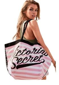 Victorias Secret Limited Edition Beach Large Tote Weekender Bag Pink White