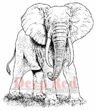 Deep Red Rubber Cling Stamp African Elephant King of the Plains Zoo Animal