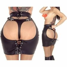 Women Sexy Fashion Open Back Goth Club Wear Faux Leather BDSM Skirt Black Skirts