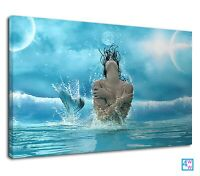 Mystical mermaid in ocean for boys bedroom Canvas Wall Art Picture Print