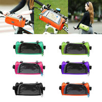 Bicycle Mobile Phone Pouch Handlebar Bag with Touch Screen Round, Green
