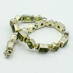 "Solid 925 Sterling Silver Unheated Peridot Gems Bracelet Jewelry S 7.5"" TR-658"
