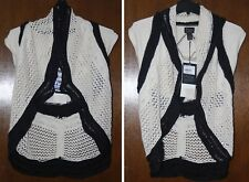 Pure Handknit Womens NWT Sleeveless 2-Way Cardigan Sweater Jacket Wrap, M L, M/L