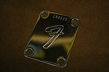 """Genuine FENDER """"F"""" Plate with your personal Custom Number, Neckplate"""