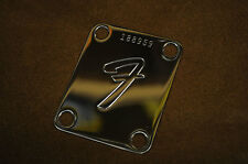 "Genuine FENDER ""F"" Plate with your personal Custom Number, Neckplate"