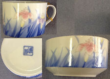 Pastel Purple, Blue and Pink Iris Pattern Porcelain Tea Cup and Rice Bowl