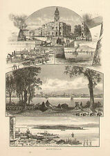 Canada Montreal City Views Customs House Helen's Island  1873 Antique Art Print