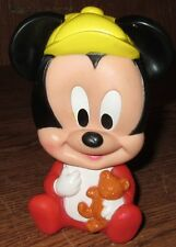 """Vintage ARCO Walt Disney Baby Mickey Mouse Squeeze Squeak Toy 5 1/2"""" Used Bear"""