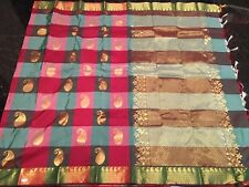 Kanchipuram Indian Silk Saree Bollywood Bridal Kanjivaram Sari Checked Maroon W5