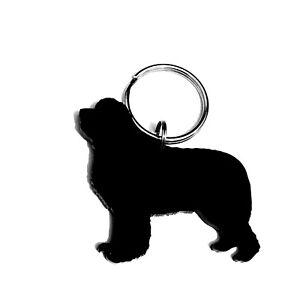 Newfoundland Dog Keyring Lanyard Keychain Bag Charms Gift In Black