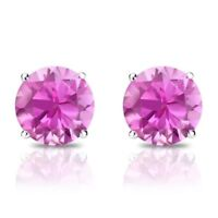 1 Ct Diamond Stud Earrings 5MM Pink Diamond Solitaire Earrings 14k White Gold