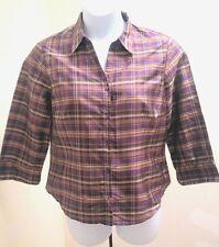 Kate Hill 14 Shirt Multi Colored Silk Purple Plaid 3/4 Sleeve Button Top