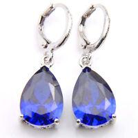 Water Drop Style Sapphire Gemstone Silver Dangle Earrings