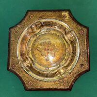 Vtg 60's Florentia ITALY Wood Base Gold Rose Scroll Octagon Ashtray glass insert