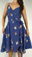 CITY CHIC Blue White Floral Polka Dot Belted Wrap Midi Dress Plus Size S AU 16
