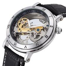 Unique Transparent Skeleton Automatic Mechanical Leather Wrist Watch Unisex Mens