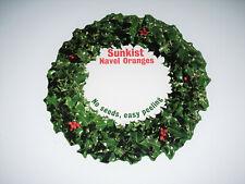 Christmas Wreath Sunkist Oranges Vtg 1960s Cardboard Grocery Store Display Sign