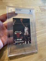 Michael Jordan Rookie BGS 5 Chicago Bulls 1985 Pocket Schedule Last Dance RARE