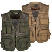 Men's Multi Pocket Utility Vest Waistcoat Fishing Travelling Hiking Outdoor 2XL