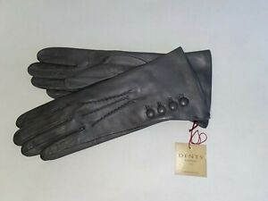 Genuine Dents leather gloves - Silk lined with 4 Button detail - grey - Rose