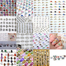 100Pcs Vintage Mixed Wholesale Lots Silver Women Kids Rings Costume Jewelry Gift