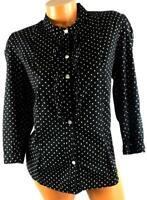 George black white polka dot ruffle button down  women's plus size top XL