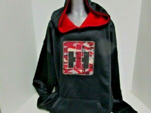 IH Black with Distressed Red Camo IH Logo Performance Pullover Youth Hoodie