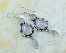 """3"""" Dangle Earrings In Ornate Silver Absolutely Stunning New Genuine Rose Quartz"""