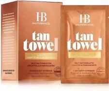 HauteBronze Half Body Self Tan Towelettes, Tan Towel, 10 count Light