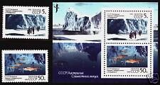 RUSSIA  AUSTRALIA 1990 Antarctic Research S/S +2 st set MNH JOINT ISSUE  POLAR