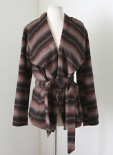Jack by BB Dakota Brown Orange Striped Shawl Wrap Tie Front Jacket Size M Wool