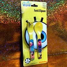 SPONGEBOB SQUAREPANTS FORK & SPOON SET yellow utensils rare Nickelodeon 2013 NEW