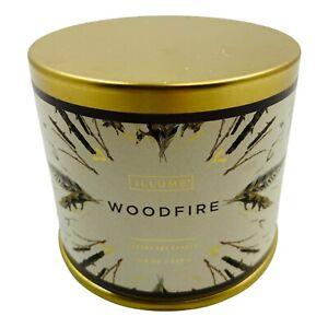 Illume Holiday Large Tin Luxury Soy Candle Woodfire 11.8 Oz Holiday Scents New