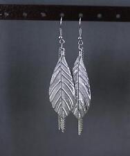 """dangle leaves 3.25"""" long lightweight silver leaf tassel earrings lightweight"""