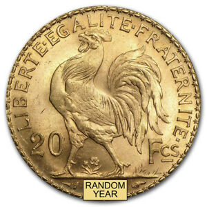 France Gold 20 Francs French Rooster (1899-1914) BU