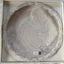 "Mikasa Madonna & Child Glass 15 1/2"" Diameter Plaque With Stand MIB"