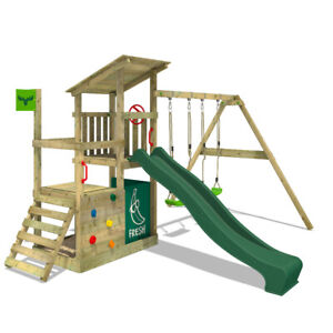 Wooden climbingframe FATMOOSE FruityForest - with green slide and sandpit