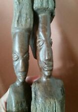 Tribal African Old Sculpture Statutes Wooden Patina Bust Hand Carved Pair