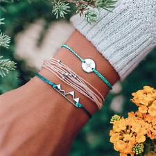 2019 Trendy 3Pcs Woven Rope Compass Handmade Bohemian Charm Bracelet Set Jewelry