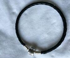 pandora black leather bracelet 20cm long (medium)