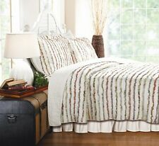 Queen Size Bedding Quilt Set Bella Ruffle Bed 100% Cotton Oversized Floral New