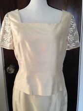Donna Morgan Dupioni Creme Silk Blend Skirt Suit 10P - Wedding/ Easter outfit