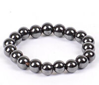 "Silver Grey Hematite Crystal Gemstone 8 mm Beaded Bracelet.7.7"" Men Ladies UK"