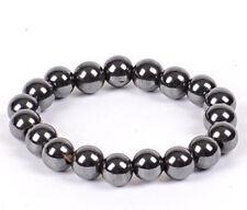 """Silver Grey Hematite Crystal Gemstone 8 mm Beaded Bracelet.7.7"""" Men Ladies UK"""