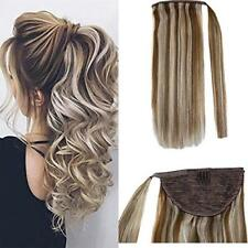 One Piece Tie Up Ponytail Hair Extensions Remy Human Hair Highlighted Color 80g