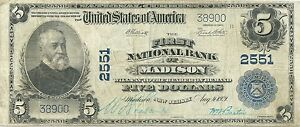 1902 NATIONAL BANK NOTE ~ MADISON, NEW JERSEY ~ MORRIS COUNTY ~ NICE NOTE