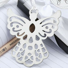 50Pcs Stainless Steel Silver Guardian ANGEL BOOKMARK Tassels Page Marker Ribbon