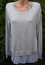 SUSSAN Ash Grey Layered TOP SIZE M. Stylish  Hem Trim NEW RRP$89.95 L/Sleeve
