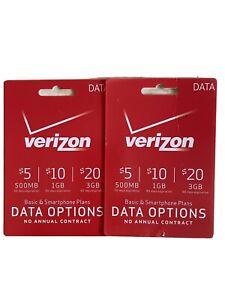 Verizon Prepaid - $10 Wireless Minutes 1G and $5 500MB Data Prepaid Cards