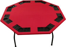 "XL 60"" Red Felt Folding Octagon Poker Table For Texas Holdem, Cards & Game"